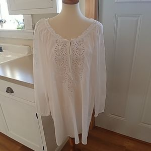 J.CREW White Cotton Chrochet Lace Tunic Cover Up M